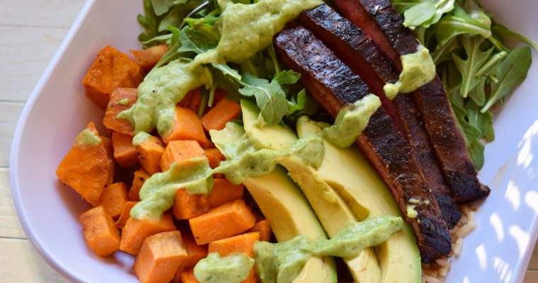 Steak & Sweet Potato Bowls with Avocado-Cilantro Drizzle