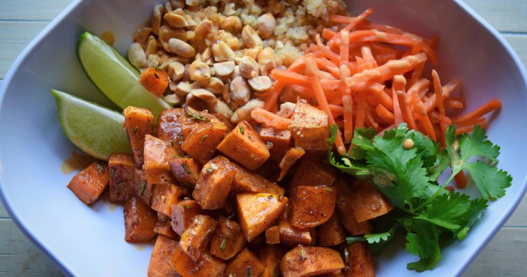 Thai Peanut Sweet Potato Buddha Bowls